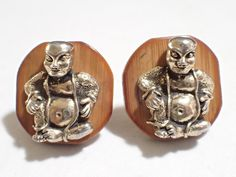 Vintage 1950s Swank Linkwoods Collection Oriental Buddha On Bamboo Cufflinks #Swank