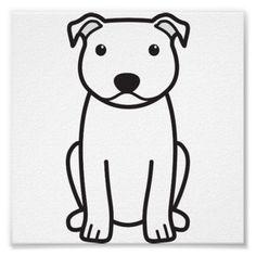 Staffordshire Bull Terrier Dog Cartoon Posters