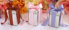 """3 oz. Square Favor Tin that is wrapped on all four sides with a Rust (Left) / Light Pink (Middle) / Purple Iris (Right) 5/8"""" wide satin ribb..."""