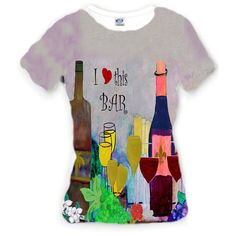I Love This Wine Bar All Over Apparel Women's Classic Scoop Neck... ($60) ❤ liked on Polyvore featuring tops, t-shirts, black, women's clothing, scoop neck t shirt, polyester shirt, polyester t shirts, t shirts и i love t-shirts