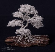 Silver Moyogi Informal Tree on a bark base. – Metal Bonsai Wire Tree Sculptures