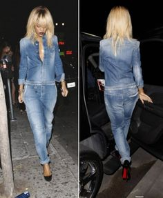 Rihanna new hair Armani washed jeans jumpsuit Jeans Jumpsuit, Jumpsuit Outfit, Mode Outfits, Jean Outfits, Combi Jean, Denim Fashion, Fashion Outfits, Asos Fashion, Romper Outfit