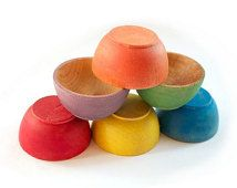 Rainbow Stacking Bowls - Nesting Bowls - Montessori Wooden Toy - Waldorf Sorting Bowls - Natural Toy - Preschool