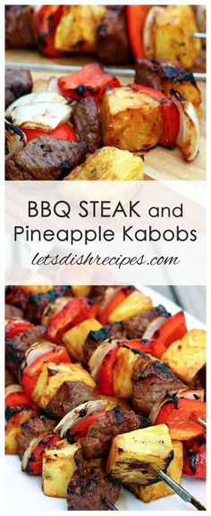 BBQ Steak and Pineapple Kabobs: Steak, peppers and pineapple, basted with barbecue sauce and grilled to perfection! Kabob Recipes, Barbecue Recipes, Grilling Recipes, Beef Recipes, Barbecue Sauce, Cooking Recipes, Healthy Recipes, Vegetarian Barbecue, Barbecue Chicken
