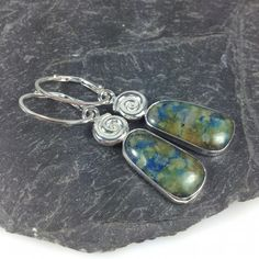 Silver chrysocolla spiral earrings £75.00