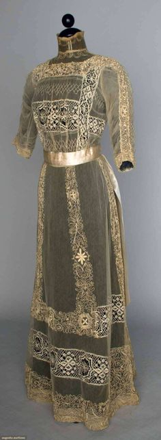 c1914    Lace Tea Gown and Jacket   front w/o jacket