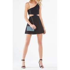 BCBGMAXAZRIA Jacquelln One-Shoulder Cutout Dress ($298) ❤ liked on Polyvore featuring dresses, black, fit and flare party dress, going out dresses, fit and flare dress, night out dresses and cut out dress