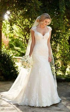 D2262 Lace Wedding Dress with Illusion Diamond Back by Essense of Australia