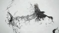 abstract dark birds smoke grayscale messenger raven smoke trail 1922x1080 wallpaper