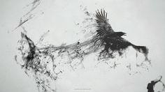 abstract dark birds smoke grayscale messenger raven smoke trail 1922x1080 wallpaper