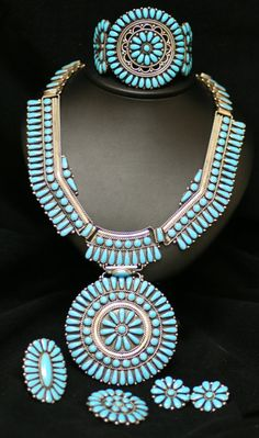 Vintage Zuni Sterling Silver & Turquoise Petit