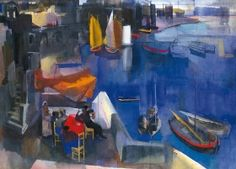 The Athenaeum - Harbor (Vilmos Aba-Novák - ) Famous Art Paintings, Oil Paintings, Modern Art, Contemporary Art, Mid Century Art, Oil Painting Reproductions, Art Moderne, Pictures To Paint, Hungary