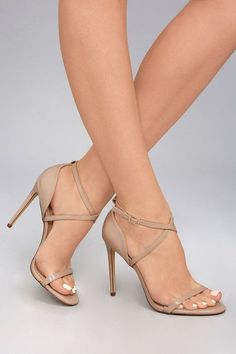 Put your most stylish foot forward in the Trixy Nude Patent High Heel Sandals! Vegan, patent leather shapes a slender toe strap, structured heel cup, and matching straps that crisscross over the ankle (with a gold buckle). Stilettos, Patent High Heels, Nude High Heels, Lace Up Heels, Ankle Strap Heels, Pumps Heels, Stiletto Heels, Heeled Sandals, Beige Sandals