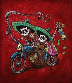 Side Swipe.  Day of the Dead Artist David Lozeau, Side Swipe, Lowbrow Art, Dia de los Muertos Art, Sugar Skull Art, Candy Skull, Skull Art, Skeleton Art - 1