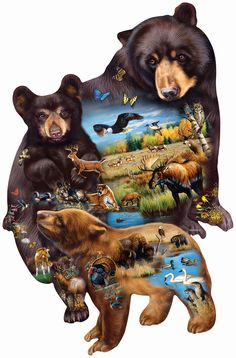 Bear Family Adventure Custom Shaped Jigsaw Puzzle - 1000 pc by SunsOut Inc Made with pride in the USA Designed by Cynthie Fisher / Lucinda Guarnotta- JQ Licensing (the Leading Lifestyle Brand Name in