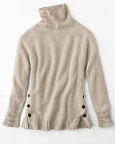 Side-Button Cashmere T-Neck