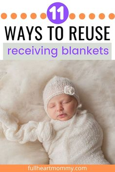 Have a lot of baby receiving blankets that your baby has outgrown? Here are a lot of uses for those receiving blankets! Recieving Blankets, Baby Receiving Blankets, Baby Life Hacks, Newborn Baby Tips, Baby Sleep Schedule, Baby Must Haves, Baby Diaper Bags, Baby Warmer, Baby Development