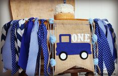 Little Blue Truck Highchair High Chair Birthday Banner Vintage Truck Blue Plaid Gingham Little Man Farm Farmer Animals Party First One