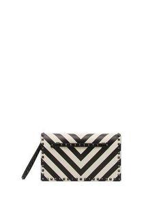 V3UHR Valentino Garavani Rockstud V-Stripe Clutch Bag