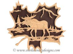 moose scroll saw ornaments | FL158 - Forest Leaf Moose #2 Pattern