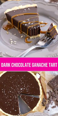DARK CHOCOLATE GANACHE TART RECIPE This simple and elegant Dark Chocolate Ganache Tart can be topped with anything you like, from a sprinkling of sea salt to dulce du leche or fresh berries. Ganache Torte, Chocolate Ganache Tart, Chocolate Desserts, Tart Recipes, Sweet Recipes, Baking Recipes, Food Cakes, Cupcake Cakes, Cupcakes