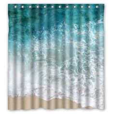 X Sea Water Shower Curtain Beach Shore Wave Theme Design Polyester Bathroom Rings Included Best Visual Enjoyment For You