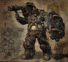 """Boomer Class of my Horde the BrOOd. He has a shoulder mounted minigun and a DoomShield. He has a re-enforced helmet, and rear leg stabilizers that drop down when he plants to fire his gun. """"DECIMATE!!!!!!"""""""