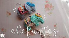 Colgante de elefantes a crochet - YouTube Kawaii Crochet, Diy Crochet, Crochet Dolls, Crochet Keychain, Crochet Earrings, Crochet Mobile, Crochet Elephant, Knit Basket, Crochet Videos