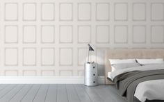 Library Panel Wallpaper An elegant wallpaper emulating the classic wooden panelling featured throughout historical palaces and period buildings, in white.