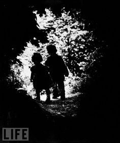 Into the Light: Photo by W. Eugene Smith, 1946. Smith was a WWII photojournalist (See my Iwo Jima pin) who was seriously wounded  while covering the Battle of Okinawa. This was his first photograph in the post-war era. He chose his own children as the subject, as a life-affirming message after witnessing so much destruction.