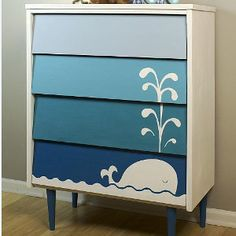 Blue Ombre Whale Dresser - Learn how to paint a dresser for your child's room with this adorable and easy-to-follow tutorial.