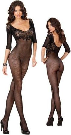 Our Open Crotch Bodystocking features a black fishnet style with lace neckline and three-quarter length sleeves.