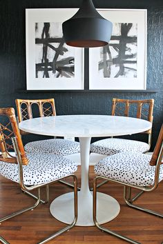 How adorable is this glam dining room, featuring our copper pendant light? Dining Nook, Dining Room Lighting, Dining Table Chairs, Round Dining Table, Dining Room Furniture, White Stool, Rose Pale, Chair Makeover, Diy Chair