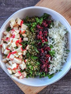 Kale Salad with Fall Toppings #apples #manchego #pepitas #cranberries #sweetcayenne