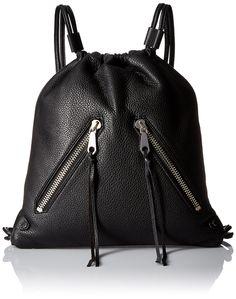 Rebecca Minkoff Moto Drawstring Back pack, Black, One Size. Drawstring backpack.