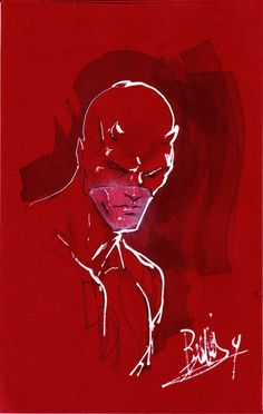 Daredevil on red by joebenitez on @DeviantArt