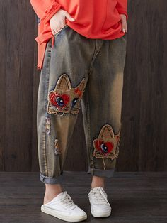 Patch Embroidered Loose Elastic Waist Vintage Denim is a trendy, Newchic provides wide range of best cheap Denim & Jeans for you. Patched Jeans, Denim Jeans, Pants For Women, Clothes For Women, Two Piece Dress, Vintage Denim, Refashion, Vintage Ladies, Cool Outfits