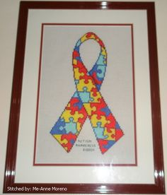 Autism Awareness Ribbon cross stitch pattern. (I have this pattern, just haven't been able to start it yet...)