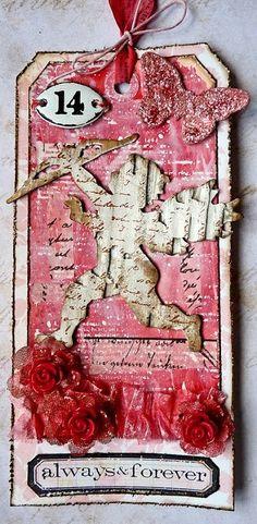Brenda Brown - Valentine tag http://www.bumblebeesandbutterflies.com/2014/02/red-white-and-pink-valentine.html