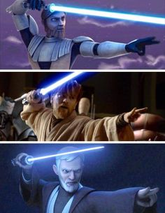 This pose is a warning sign. When you see Obi-Wan doing it, you better run because otherwise youre going down