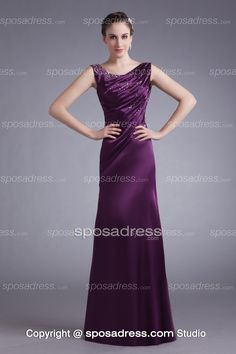Ravishing Scoop Neckline Elastic Satin Purple Evening Gown