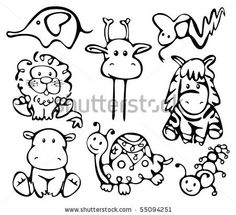 Silhouettes of animals. - stock vector