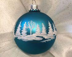 Teal Hand painted Glass Christmas Ball