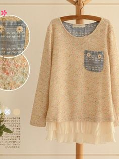 Add ruffled chiffon to sweater for a sweet romantic touch
