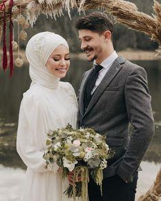 Image may contain: 2 people, wedding - Hijab Clothing Hijabi Wedding, Muslim Wedding Dresses, Disney Wedding Dresses, Muslim Brides, Muslim Couples, Wedding Hijab Styles, Couple Wedding Dress, Wedding Couples, Wedding Bride
