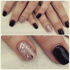 Dark purple with nude and rose gold glittery accent nail gorgeous winter nails!