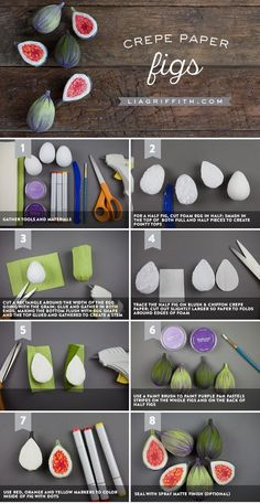 Crepe Paper Figs - Lia Griffith - www.liagriffith.com #diyinspiration #crepepaper #crepepaperrevival #paper #paperart #diyidea #diyideas #madewithlia