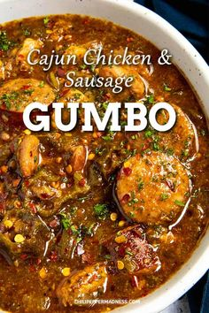 Cajun Chicken and Sausage Gumbo - This down home Cajun chicken and sausage gumbo recipe is made with a rich and comforting dark roux, the Cajun holy trinity of vegetables, seared chicken, smoked andouille, and plenty of Cajun seasoning. This is one of my most favorite dishes in the whole world. I can never get enough gumbo. | ChiliPepperMadness.com #Cajun #Gumbo #CajunCuisine #CajunFood via @chilipeppermadness Cajun Recipes, Soup Recipes, Cooking Recipes, Chicken Recipes, Cajun Dishes, Seafood Dishes, Sausage Gumbo, Homemade Cajun Seasoning, Southern Recipes