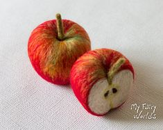Needle Felted Apples. Set of one and a half. Life Size. Nature Table.Play Food.