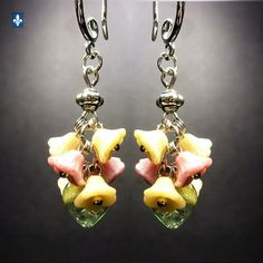 ♥ Lovely Floral Mixed Green & Pink Ivory Czech Glass Plated Silver Earrings